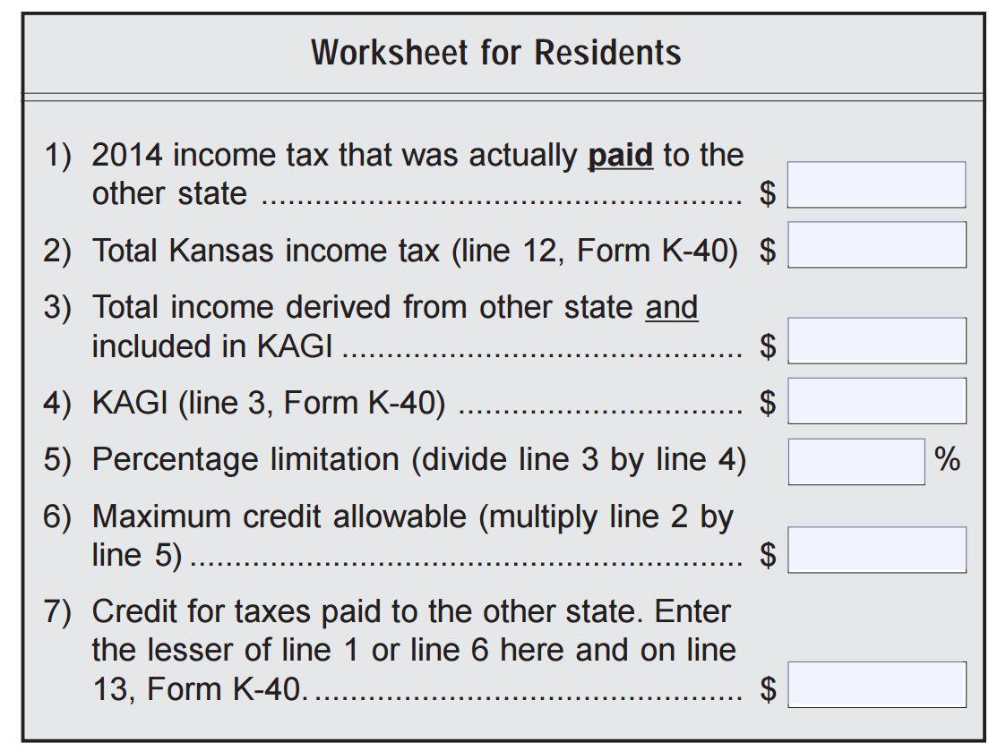 Refund For Kansas Residents Paying Kansas City Missouri Earnings – State Tax Refund Worksheet