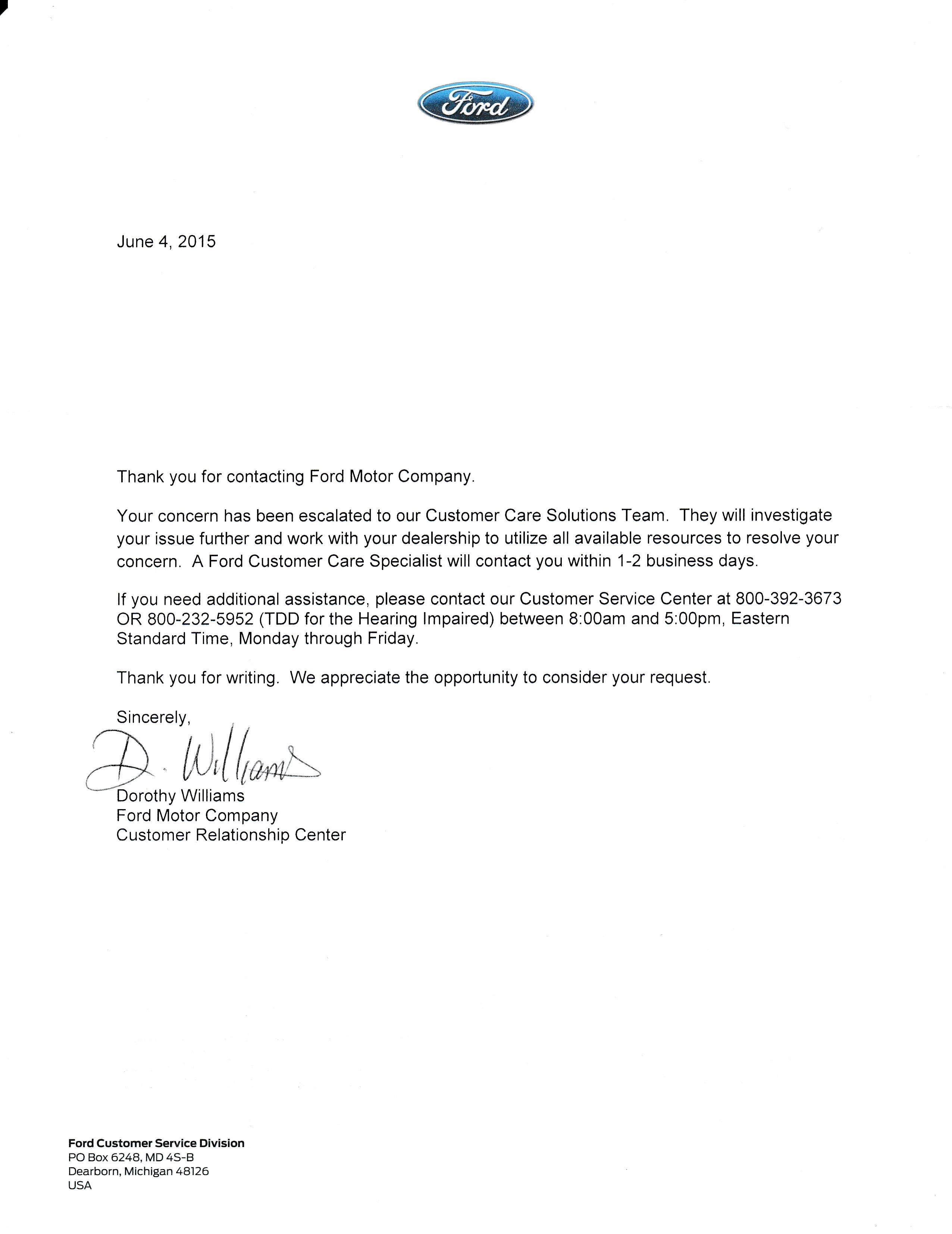 Letter from Ford in response to my complaint about transmission.